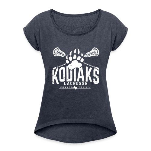 Kodiaks Lacrosse 2018 white - Women's Roll Cuff T-Shirt