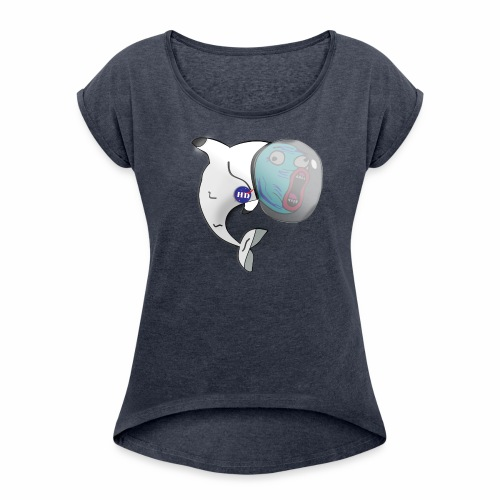 Dolphin in Space - Women's Roll Cuff T-Shirt