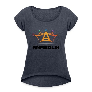 anabolix logo color - Women's Roll Cuff T-Shirt