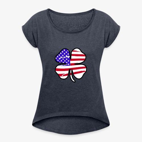 4 Leaf Lucky Clover Flag - Women's Roll Cuff T-Shirt