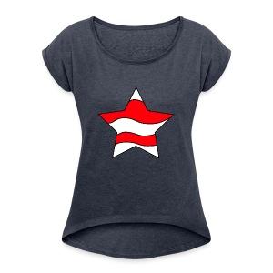 Patriot-1 Emblem - Women's Roll Cuff T-Shirt