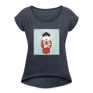 Hispter Dog - Women's Roll Cuff T-Shirt