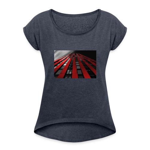 red, black & white - Women's Roll Cuff T-Shirt