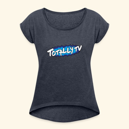 Totally TV Burst Logo Blue on Blue - Women's Roll Cuff T-Shirt
