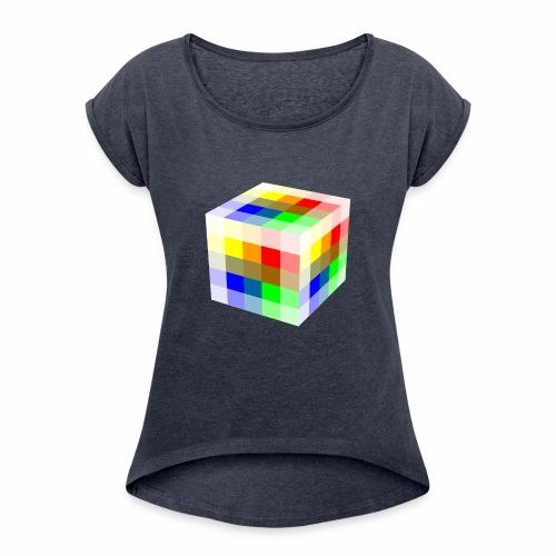 Multi Colored Cube - Women's Roll Cuff T-Shirt