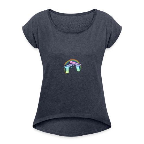 Rainbow guns - Women's Roll Cuff T-Shirt