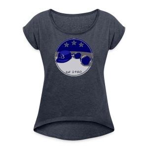SB Logo Hat and Headphones Posterized - Women's Roll Cuff T-Shirt