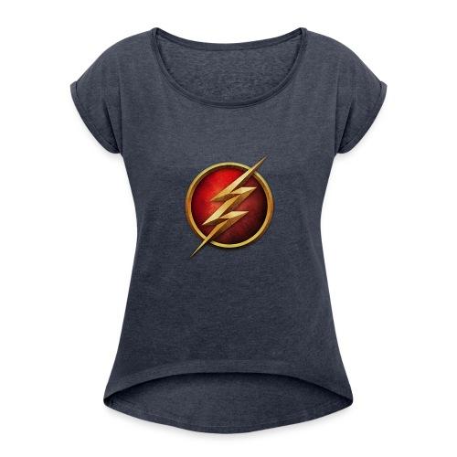 the_flash_logo_by_tremretr-d8uy5gu - Women's Roll Cuff T-Shirt