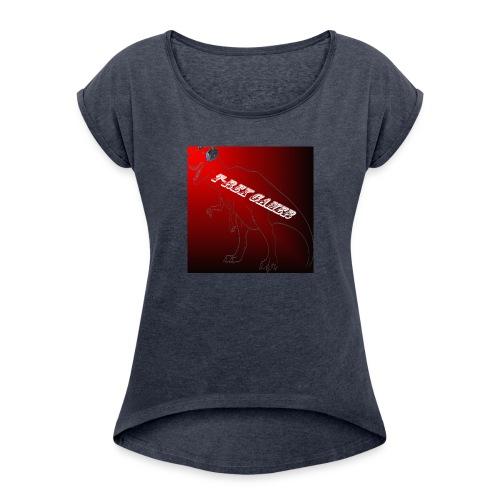 T-REX GAMER LOGO - Women's Roll Cuff T-Shirt