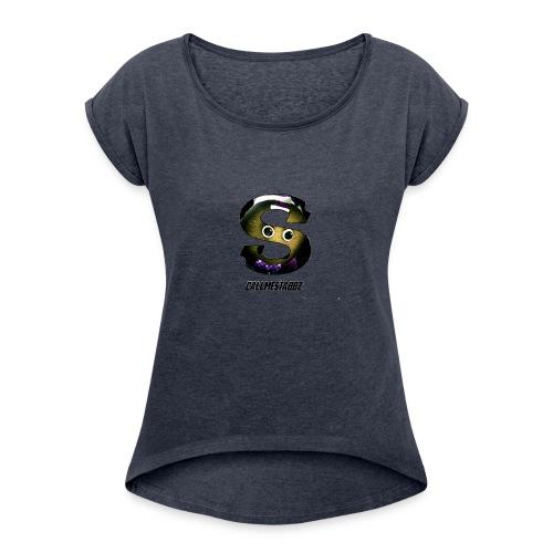 CallMeStabbzHD Logo - Women's Roll Cuff T-Shirt