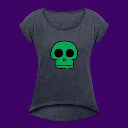 Green Skull - Women's Roll Cuff T-Shirt