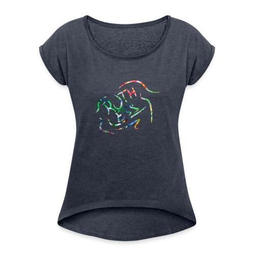 Flower Signature Black - Women's Roll Cuff T-Shirt