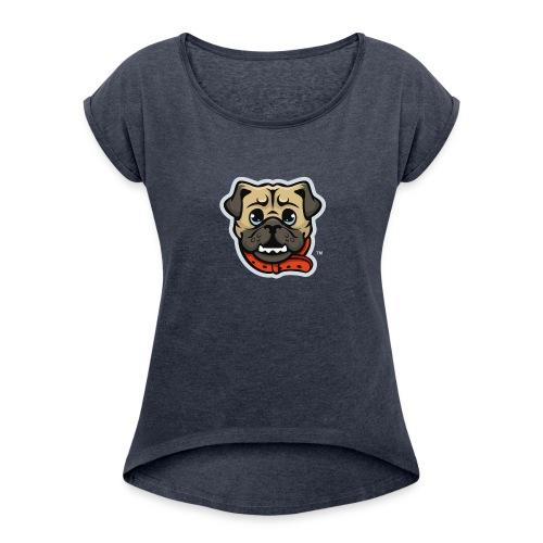 Pug_Mascot_WhiteBG - Women's Roll Cuff T-Shirt
