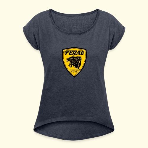 FERAL_EC_Logo - Women's Roll Cuff T-Shirt