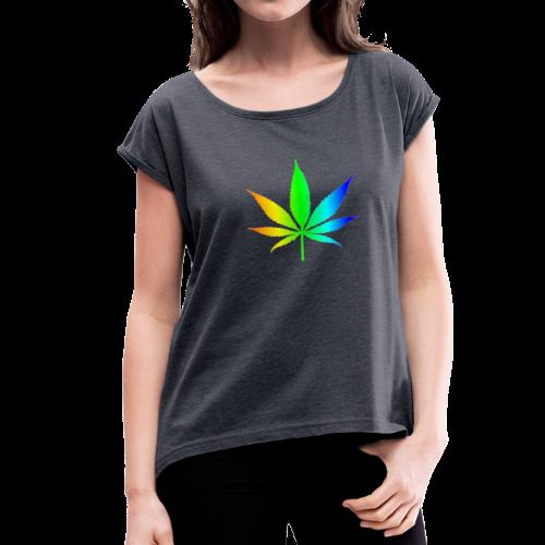 Rainbow Leaf - Women's Roll Cuff T-Shirt