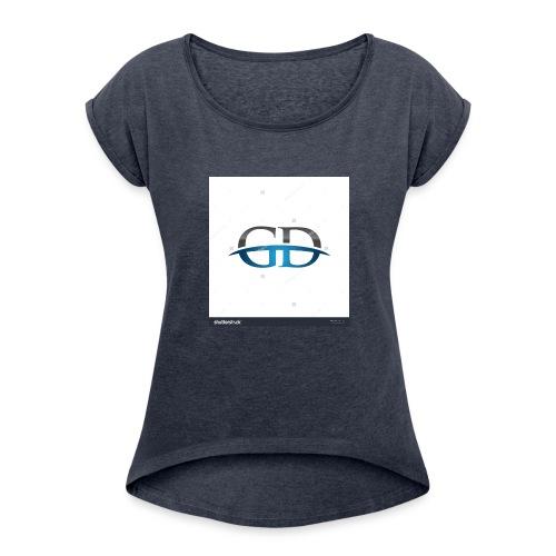 stock vector gd initial company blue swoosh logo 3 - Women's Roll Cuff T-Shirt
