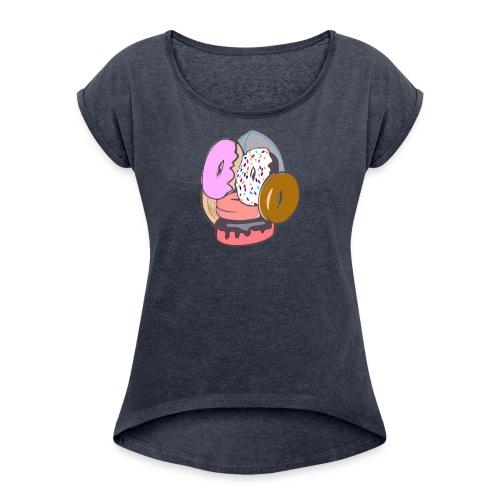 Doughnut Face - Women's Roll Cuff T-Shirt