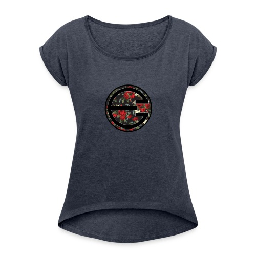 EYELESS 2D FLORAL CIRCLE PHONE CASE. - Women's Roll Cuff T-Shirt