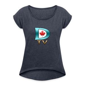 Dolynny TV Logo - Women's Roll Cuff T-Shirt