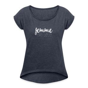 Femme de tête (blanc) - T-shirt Femme à manches retournées