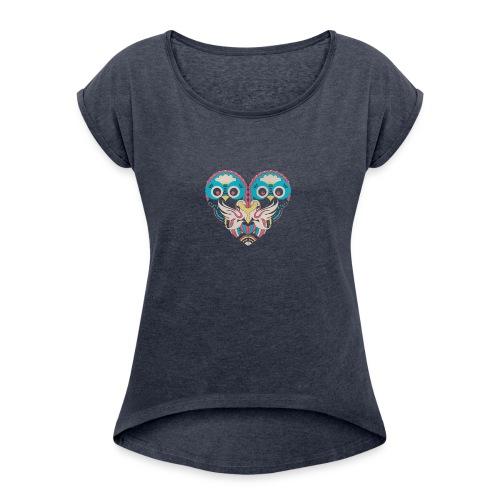 hearts of owls - Women's Roll Cuff T-Shirt