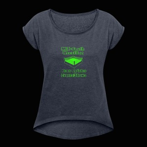 Mid-South Wrestling News Neon/Lime Green - Women's Roll Cuff T-Shirt