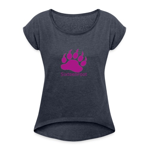 Purple_Logo - Women's Roll Cuff T-Shirt