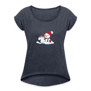 Penguin & Snowman Winter Friends - Women's Roll Cuff T-Shirt