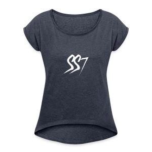 SS7 White logo - Women's Roll Cuff T-Shirt