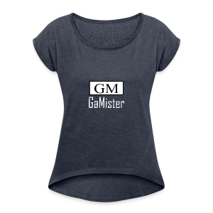 gamister_shirt_design_1_back - Women's Roll Cuff T-Shirt