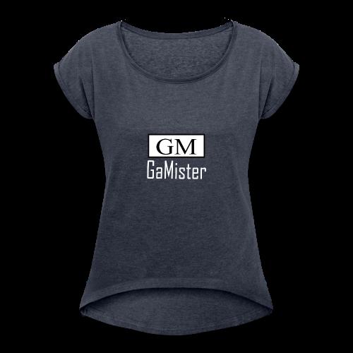 gamister_shirt_design_1_back - Women's Roll Cuff T-Shirt