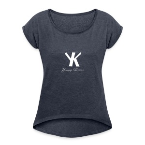 Young Kevino Official Logo (White) - Women's Roll Cuff T-Shirt