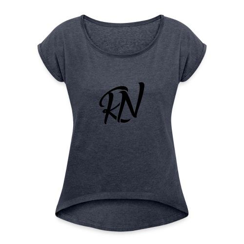 RomanNation Black (RN) - Women's Roll Cuff T-Shirt