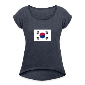 Flag of South Korea - Women's Roll Cuff T-Shirt
