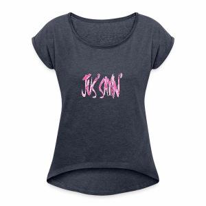 JUS SAYIN - PINK CAMO - Women's Roll Cuff T-Shirt