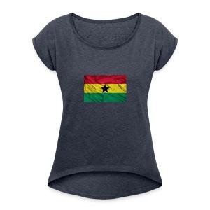 Ghana-Flag - Women's Roll Cuff T-Shirt