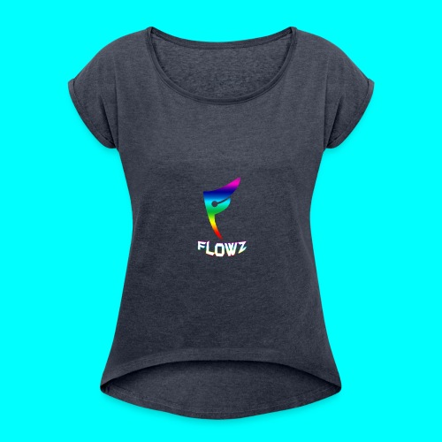 Multi-Colour Flowz Logo With Text - Women's Roll Cuff T-Shirt