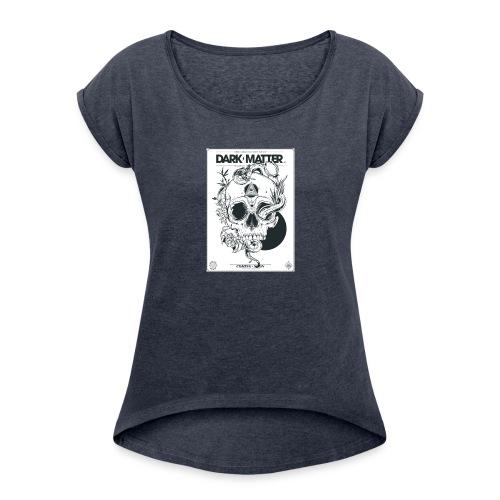 Flowery-Skull - Women's Roll Cuff T-Shirt