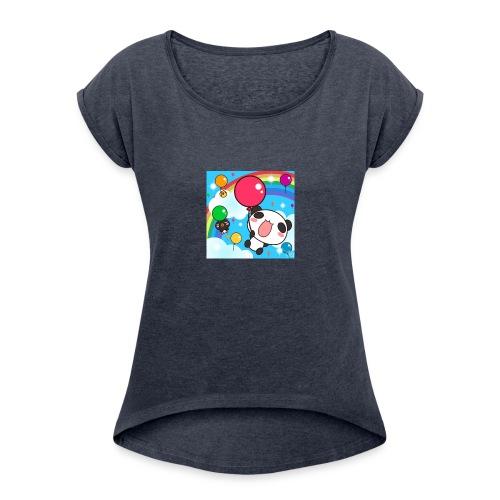 Rainbow with a panda - Women's Roll Cuff T-Shirt