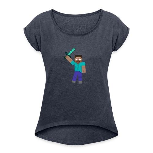 Herobrine Anniversary - Women's Roll Cuff T-Shirt