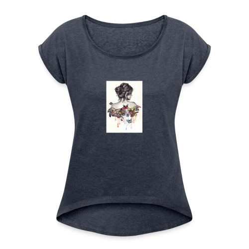 The love that surrounds her - Women's Roll Cuff T-Shirt