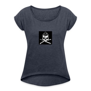 Greaser skull - Women's Roll Cuff T-Shirt