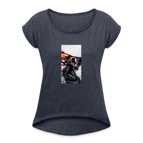 Tanker phone case - Women's Roll Cuff T-Shirt