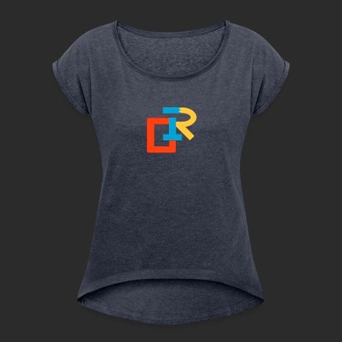 COLORED RIGANG LOGO - Women's Roll Cuff T-Shirt