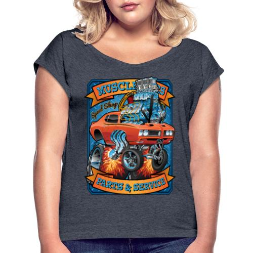 Classic Sixties Muscle Car Parts & Service Cartoon - Women's Roll Cuff T-Shirt