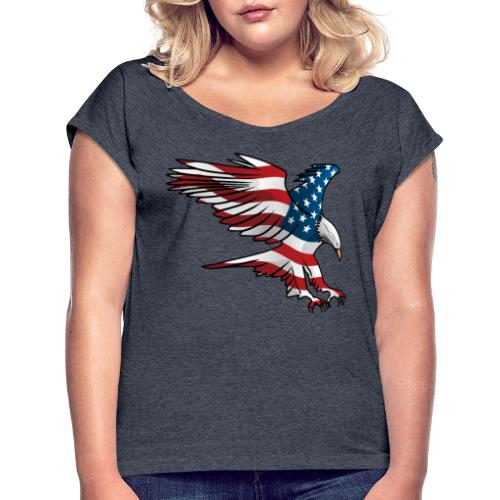 Patriotic American Eagle - Women's Roll Cuff T-Shirt