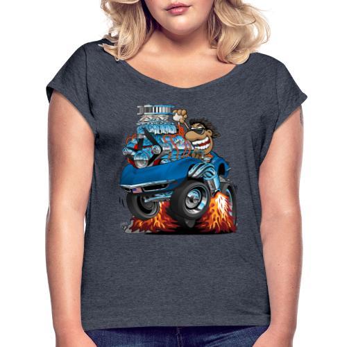 Classic '69 American Sports Car Cartoon - Women's Roll Cuff T-Shirt