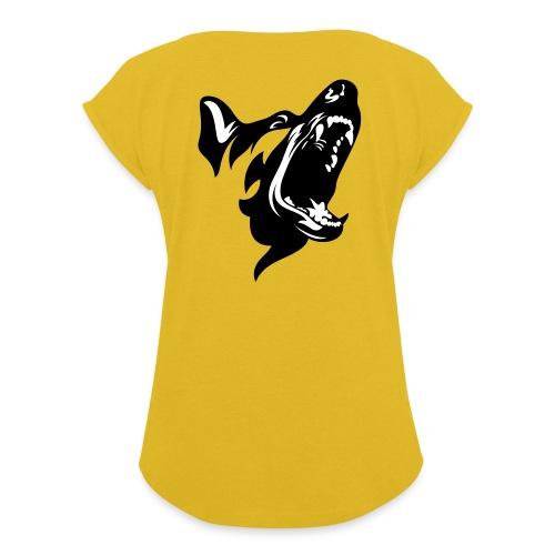 German Shepherd Dog Head - Women's Roll Cuff T-Shirt