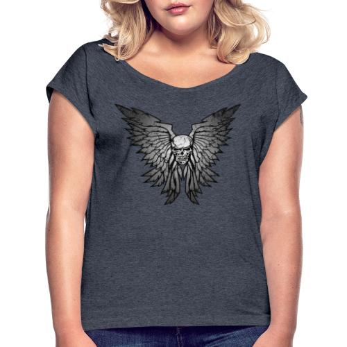 Classic Distressed Skull Wings Illustration - Women's Roll Cuff T-Shirt