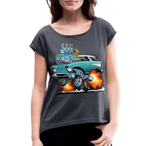 Classic Fifties Hot Rod Muscle Car Cartoon - Women's Roll Cuff T-Shirt